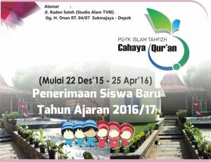 Penerimaan Siswa Baru TA 2016/17 TK Tahfizh Cahaya Quran